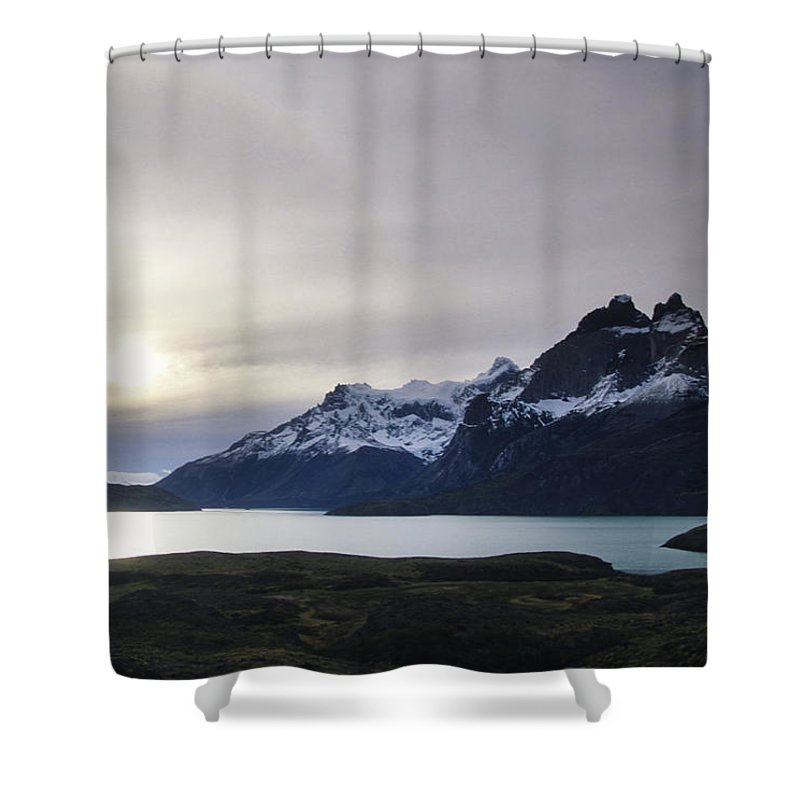 Nobody Shower Curtain featuring the photograph Sunset At Lago Pehoe In The Cuenos Del by Bill Hatcher