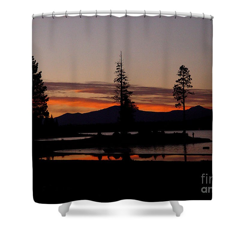 Lake Almanor Shower Curtain featuring the photograph Sunset At Lake Almanor 02 by Peter Piatt