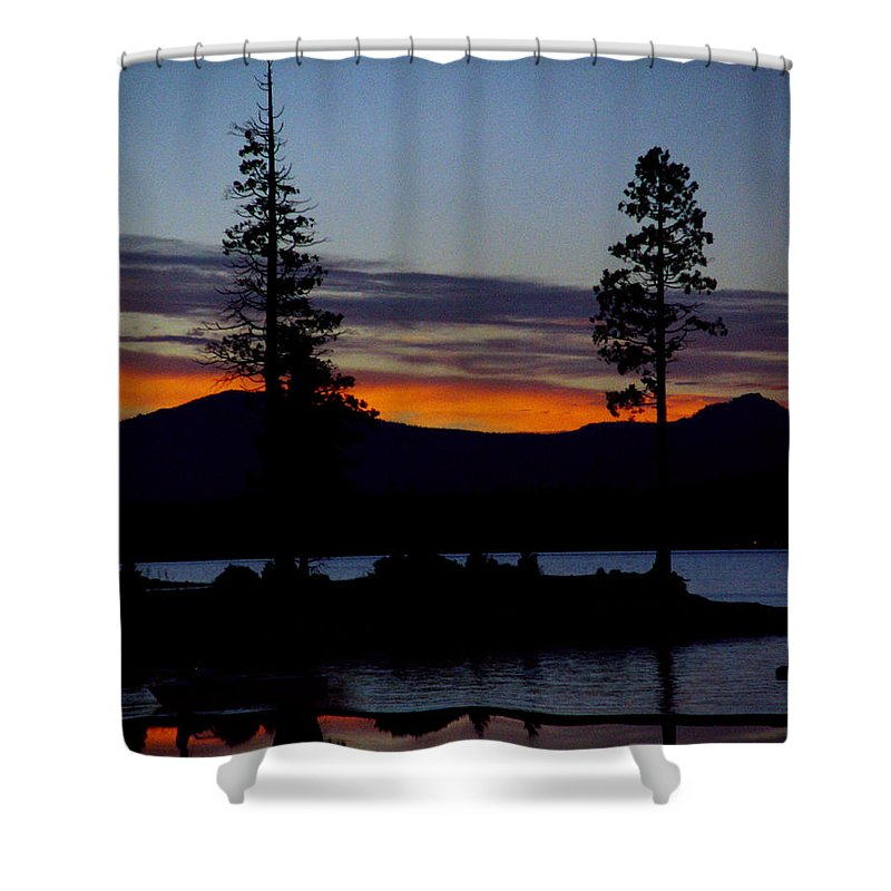 Lake Almanor Shower Curtain featuring the photograph Sunset At Lake Almanor by Peter Piatt