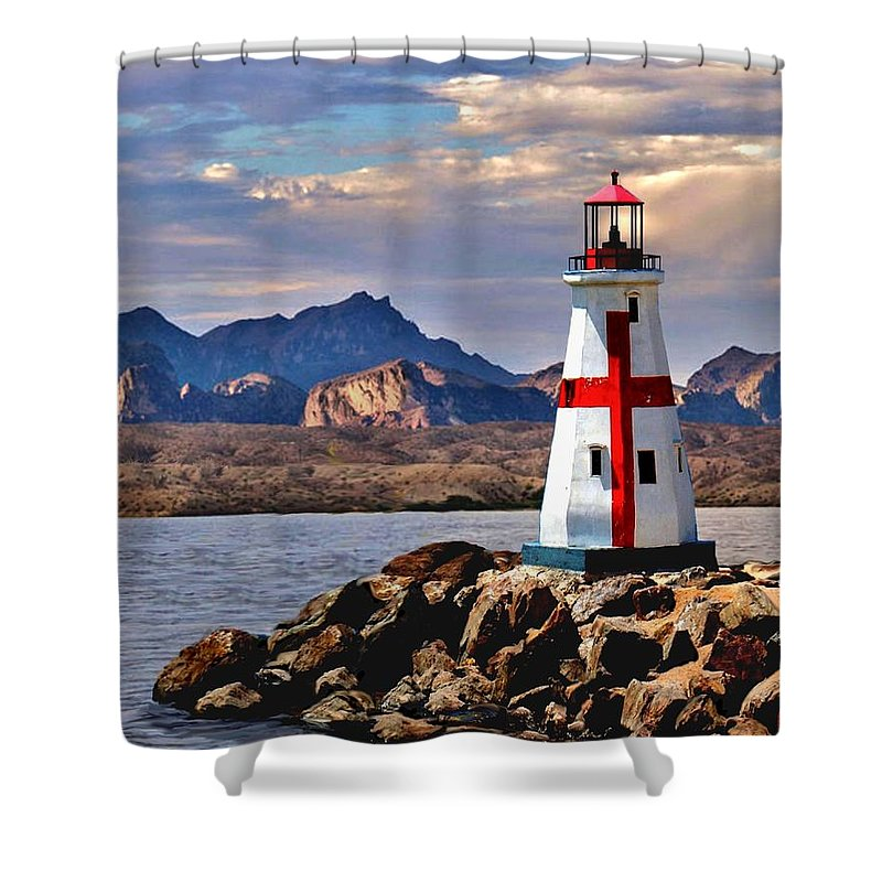 View Love Lighthouse Light House Mountain Scape Landscape Lake Havasu Sunset Twilight Ocean Sea Inland Clouds Cross Seaside Waves Art The Of To And A In Is It You He Was For On Are As I His Be One Or Had By We Can All Up An She Do If So Her With That They Have But Were Then Word Make Like Our Rkc Ron Ronald K Chambers  Shower Curtain featuring the painting Sunset at Lake Havasu by Ron Chambers