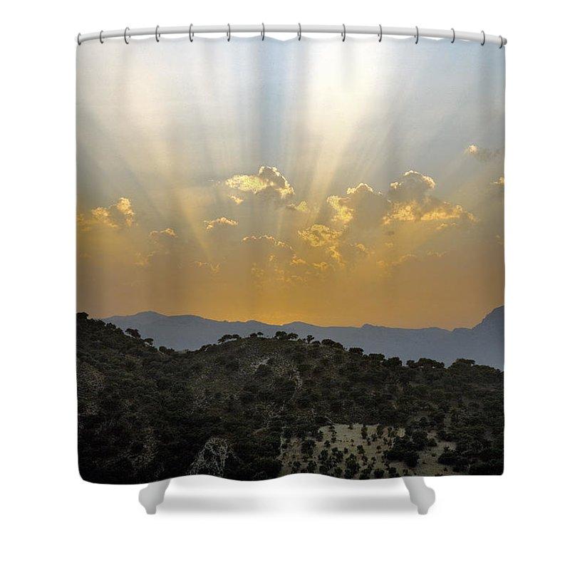 Sunrise Shower Curtain featuring the photograph Sunset At Pastelero Near Villanueva De La Concepcion Andalucia Spain by Mal Bray