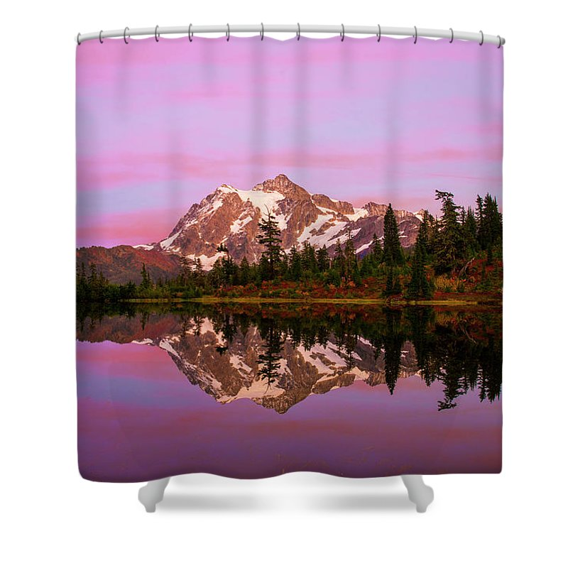 Sunset Shower Curtain featuring the photograph Sunset At Picture Lake by Christopher Swafford