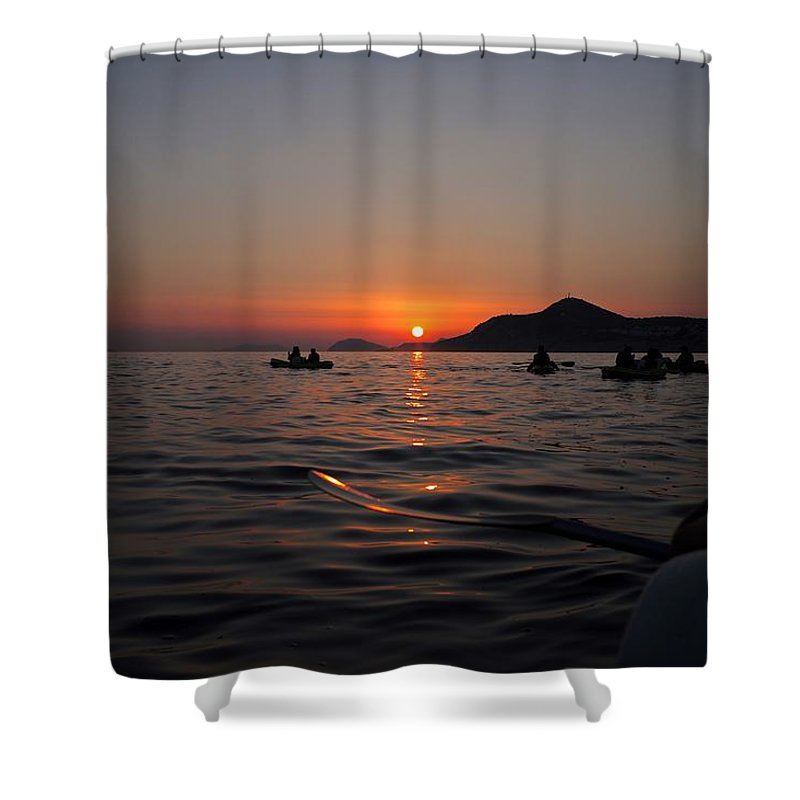 Dubrovnik Shower Curtain featuring the photograph Sunset At Sea by Piotr Kuzniar