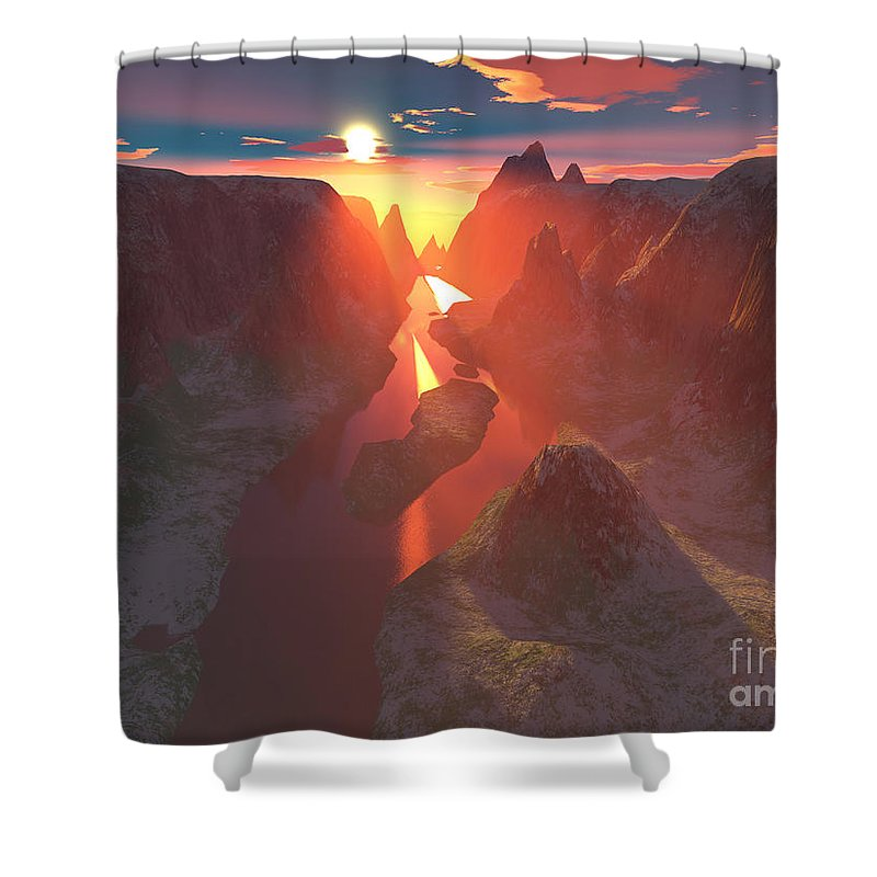Canyon Shower Curtain featuring the digital art Sunset At The Canyon by Gaspar Avila