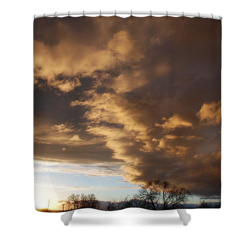 Sunset Shower Curtain featuring the photograph Sunset At The New Mexico State Capital by Rob Hans