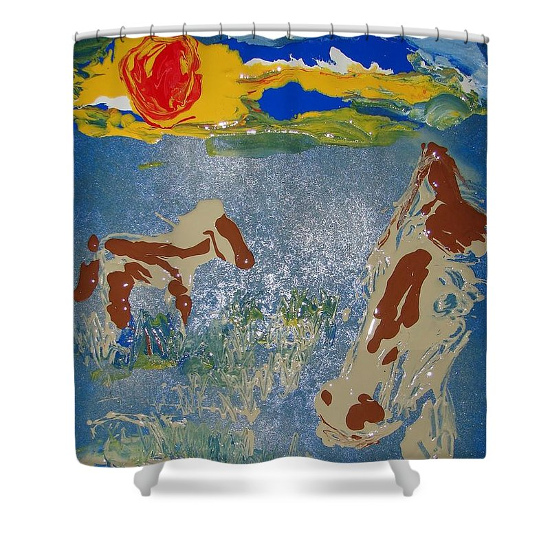 Impressionism Shower Curtain featuring the painting Sunset At The Watering Hole by J R Seymour