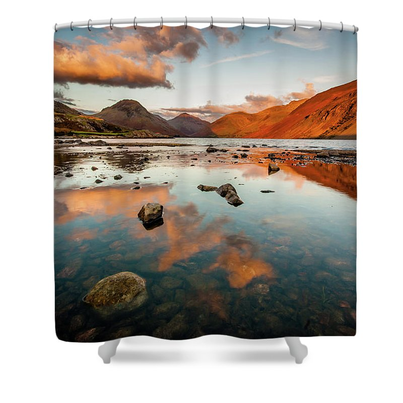 Sunrise Shower Curtain featuring the photograph Sunset at Wast Water #2, Wasdale, Lake District, England by Anthony Lawlor