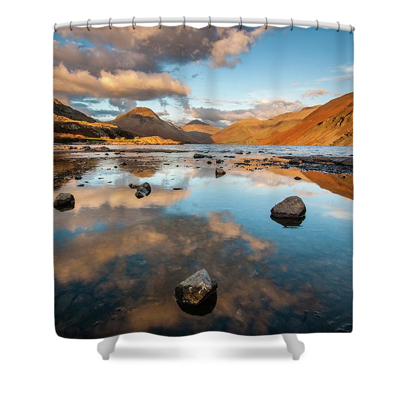 Sunrise Shower Curtain featuring the photograph Sunset At Wast Water #3, Wasdale, Lake District, England by Anthony Lawlor
