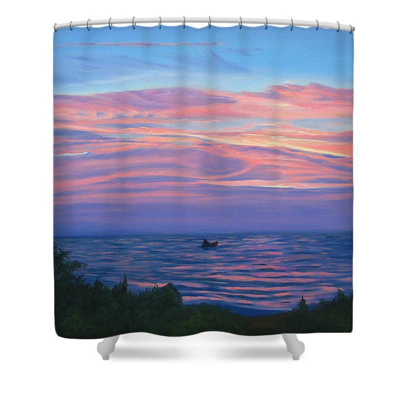 Seascape Shower Curtain featuring the painting Sunset Bay by Lea Novak
