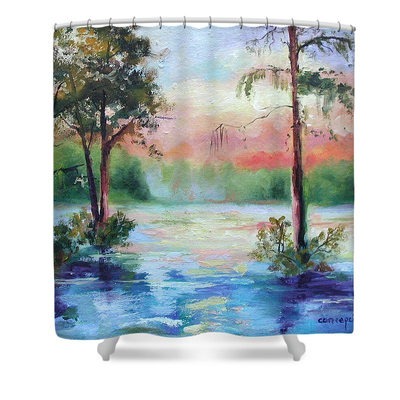 Sunset Shower Curtain featuring the painting Sunset Bayou by Ginger Concepcion