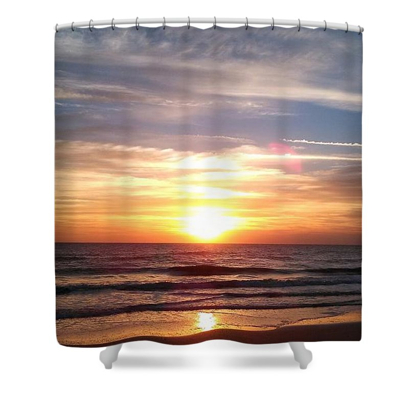 Sky Shower Curtain featuring the photograph Sunset Beach by Michele Kaniarz