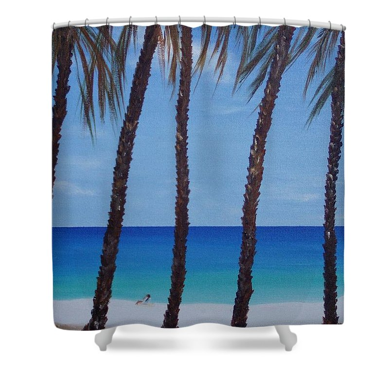 Beaches Shower Curtain featuring the painting Sunset Beach by Patti Bean