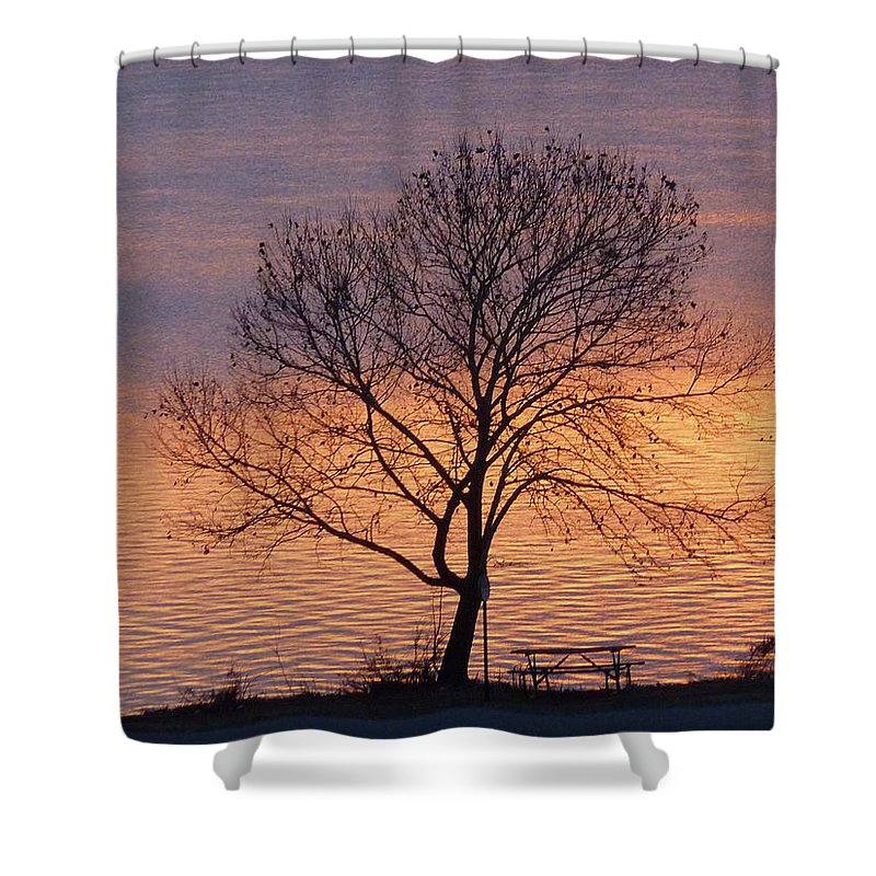 Sunset Shower Curtain featuring the photograph Sunset Bench by Angela Wright