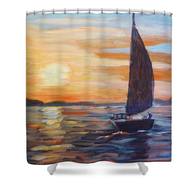 Sailing Shower Curtain featuring the painting Sunset Boat by Saga Sabin