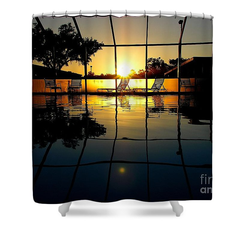 Sunset Shower Curtain featuring the photograph Sunset By The Pool by Robert Meanor
