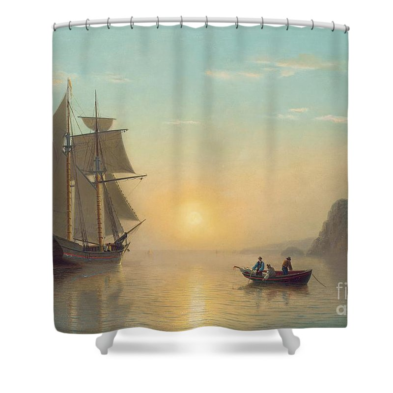 Boat Shower Curtain featuring the painting Sunset Calm in the Bay of Fundy by William Bradford