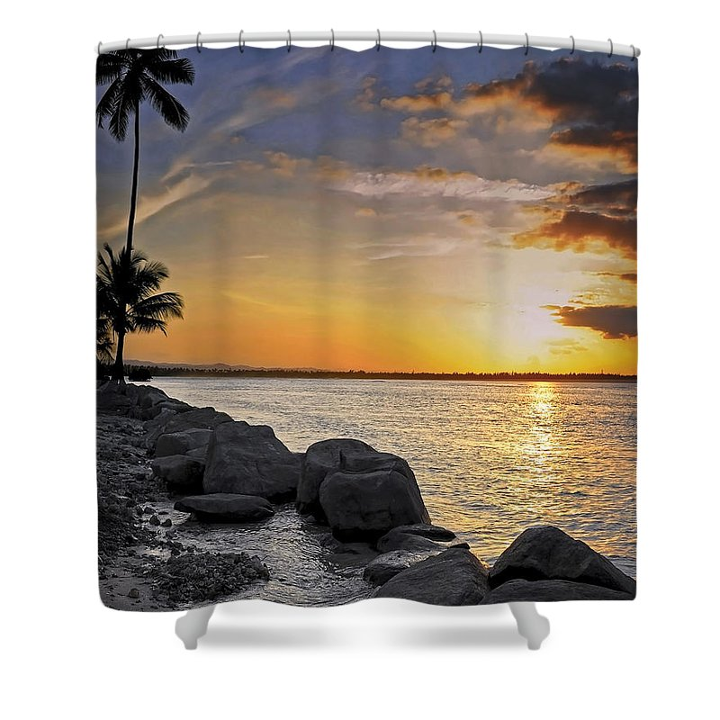 Caribbean Shower Curtain featuring the photograph Sunset Caribe by Stephen Anderson