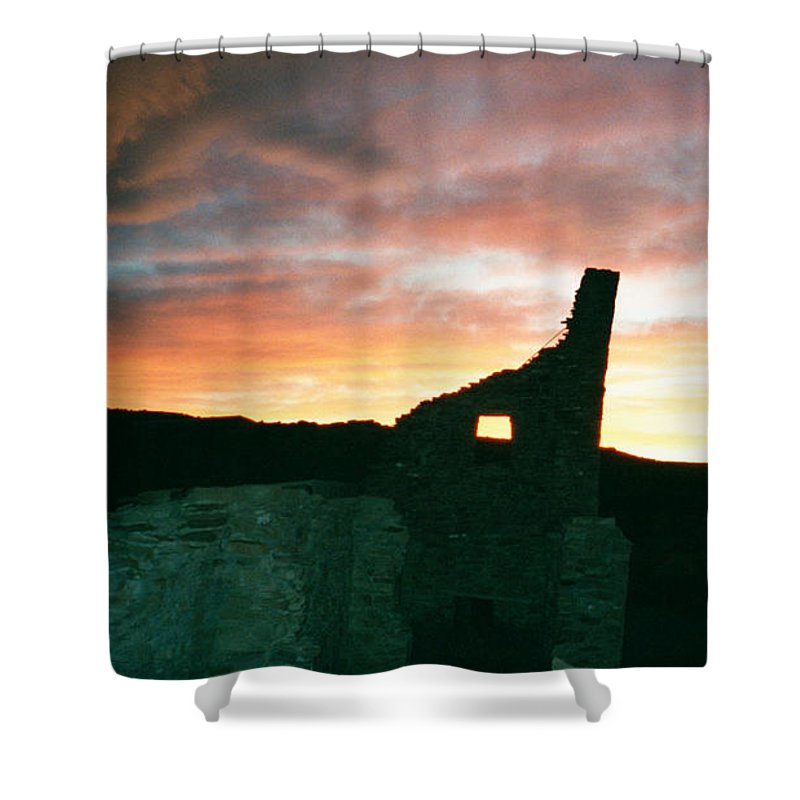 Sunset Shower Curtain featuring the photograph Sunset Chaco Canyon by Chester Taplette