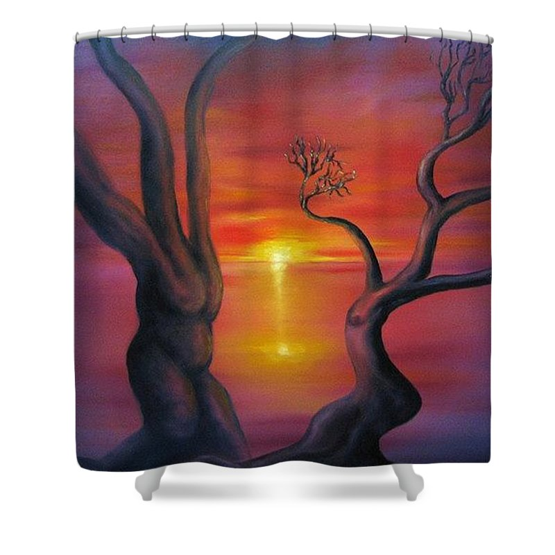 Landscape Shower Curtain featuring the painting Sunset Dance Fantasy Oil Painting by Natalja Picugina