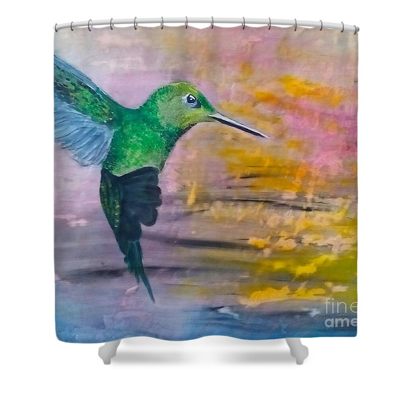 Hummingbird Shower Curtain featuring the painting Sunset Dancer by J Bauer