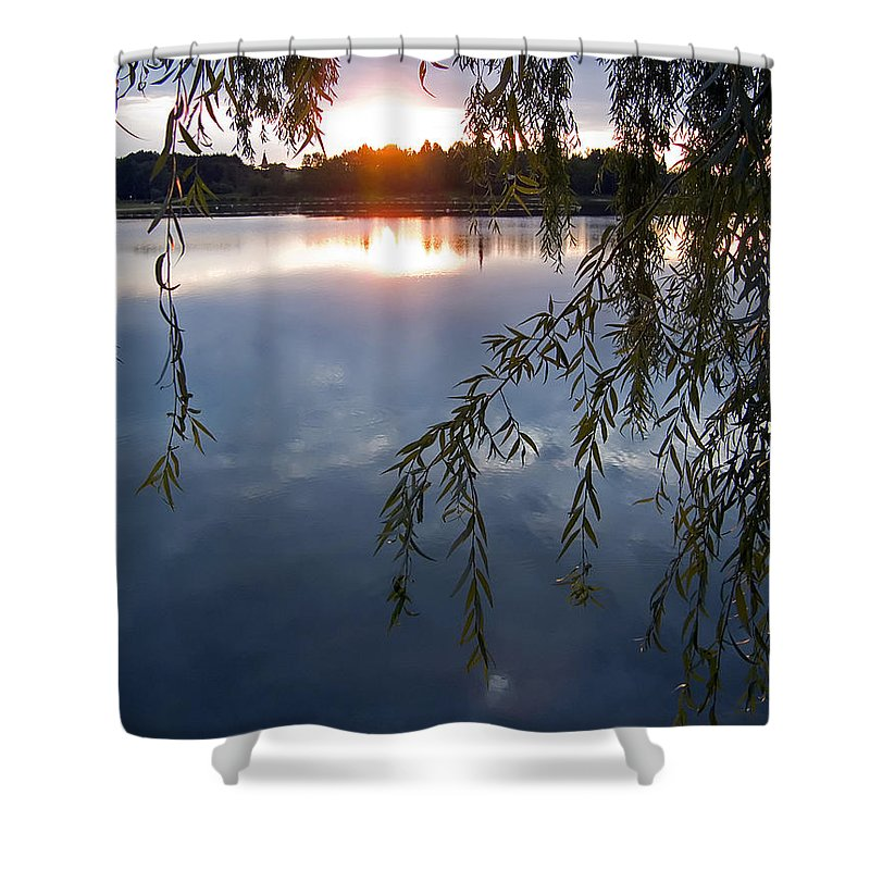 Nature Shower Curtain featuring the photograph Sunset by Daniel Csoka