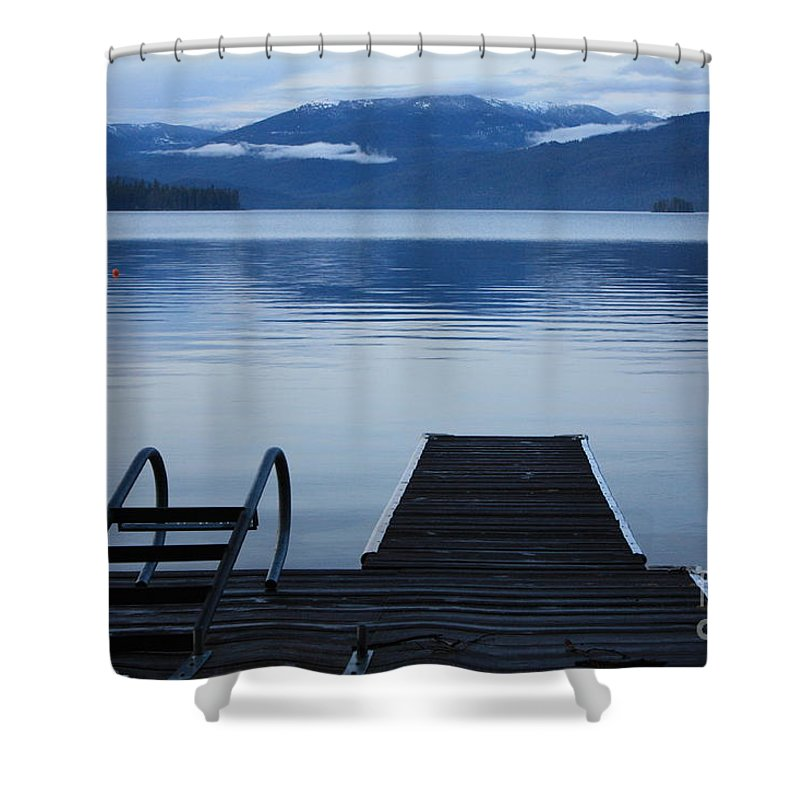 Priest Lake Shower Curtain featuring the photograph Sunset Dock At Priest Lake by Carol Groenen