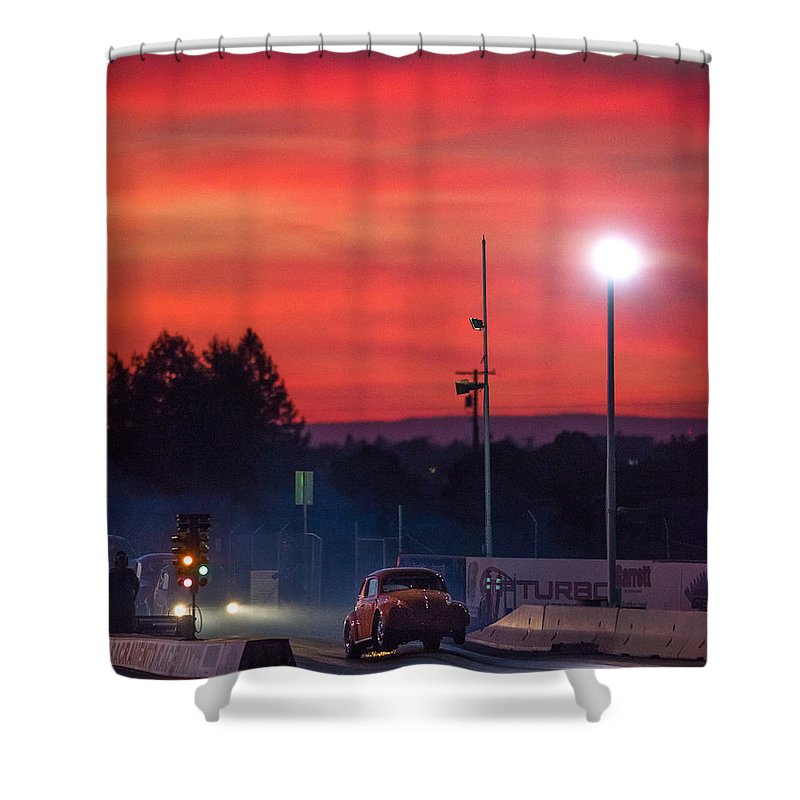Car Show Shower Curtain featuring the photograph Sunset Drag Strip by Richard Kimbrough