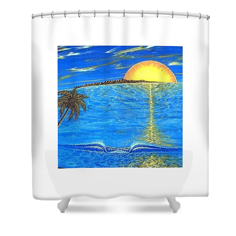 Sunset Dream Shower Curtain featuring the painting Sunset Dream by Paul Carter