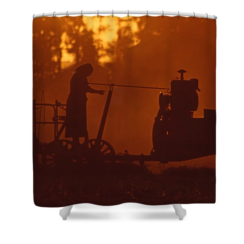 Amish Shower Curtain featuring the photograph Sunset Female Amish Farmer by Blair Seitz
