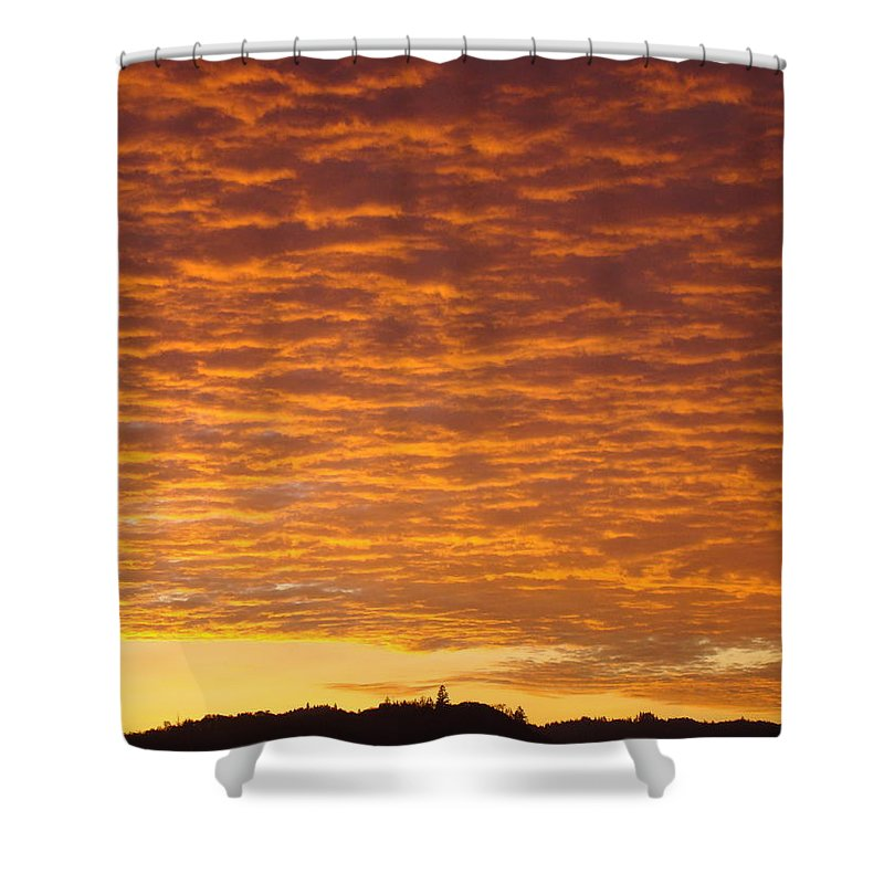 Sunset Shower Curtain featuring the photograph Sunset Fiery Orange Sunset Art Prints Sky Clouds Giclee Baslee Troutman by Baslee Troutman