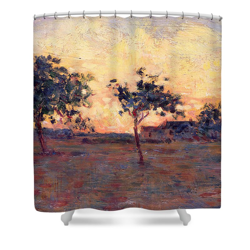 Seurat Shower Curtain Featuring The Painting Sunset By Georges Pierre