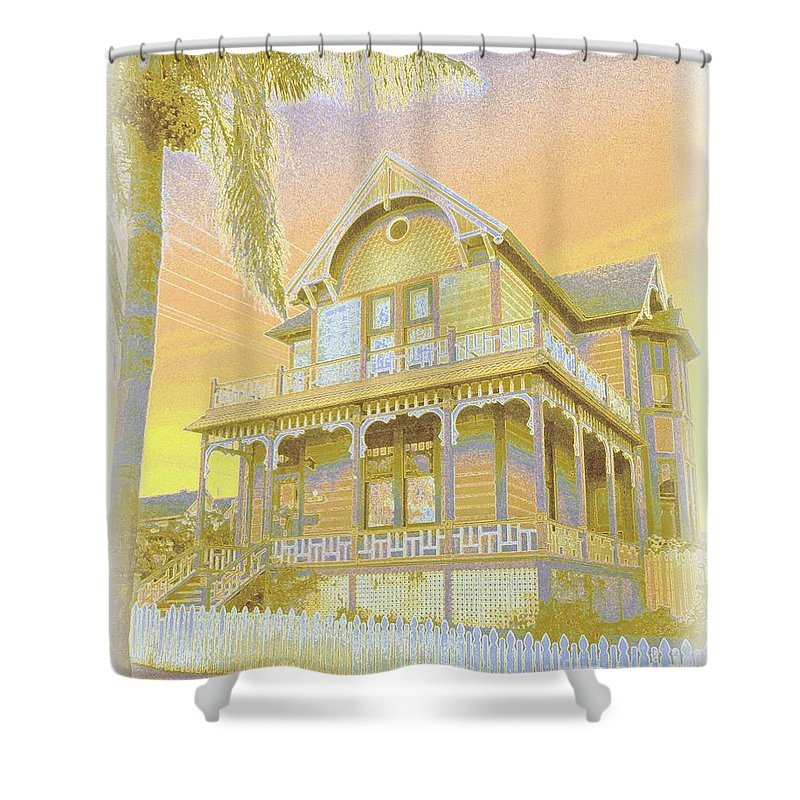 Old Shower Curtain featuring the photograph Sunset Gingerbread by Barbie Corbett-Newmin