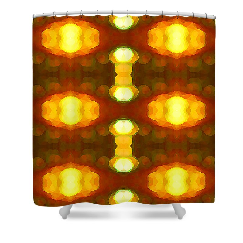 Abstract Painting Shower Curtain featuring the digital art Sunset Glow 1 by Amy Vangsgard