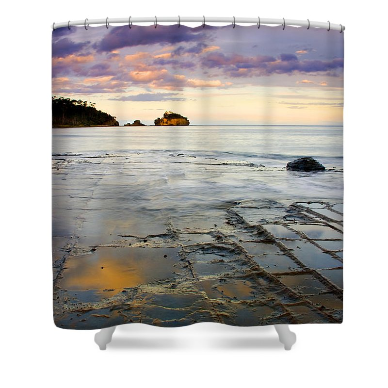 Tesselated Pavement Shower Curtain featuring the photograph Sunset Grid by Mike Dawson