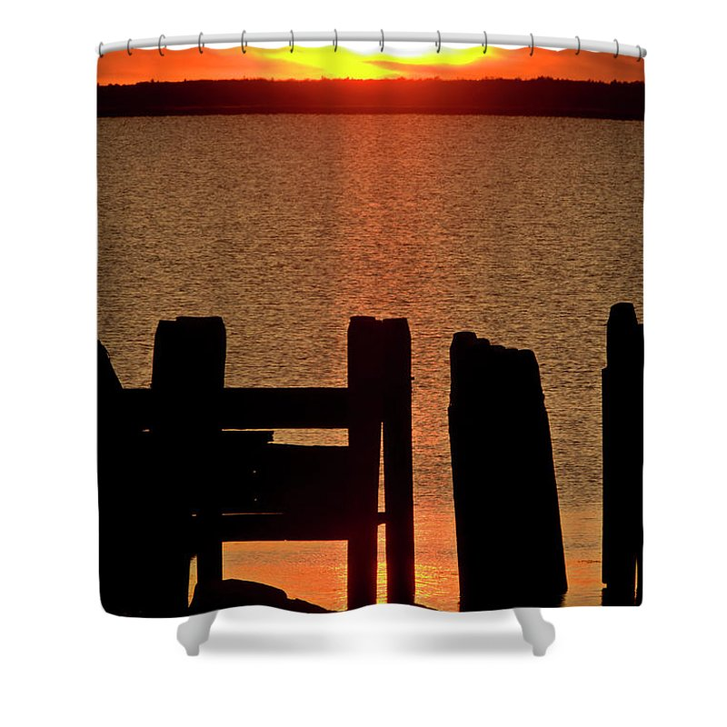 Sunset Shower Curtain featuring the digital art Sunset Hecla Island Manitoba Canada by Mark Duffy