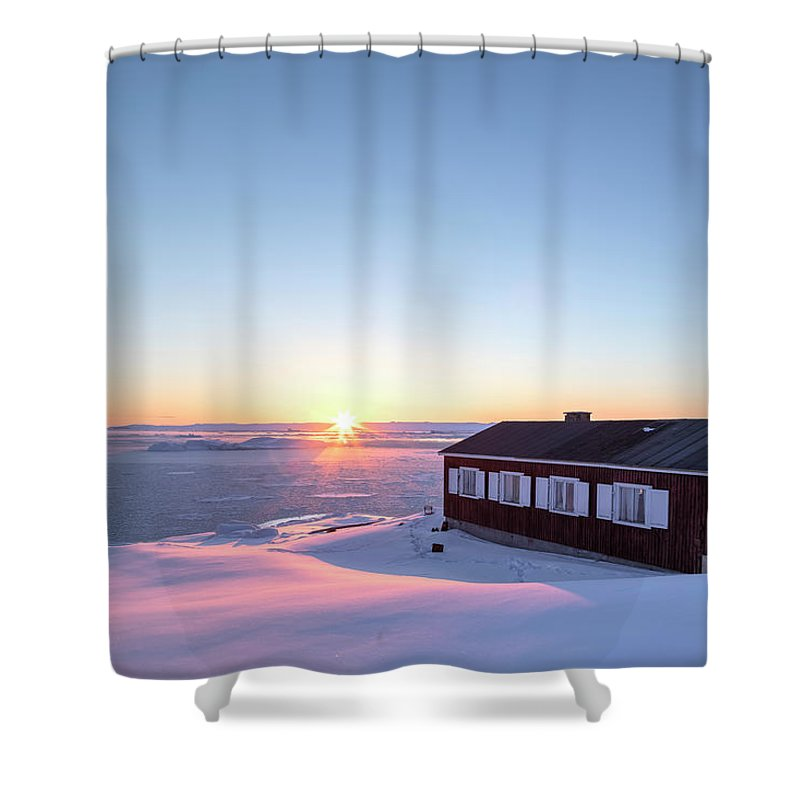 Ilulissat Shower Curtain featuring the photograph sunset in Ilulissat, Greenland by Joana Kruse