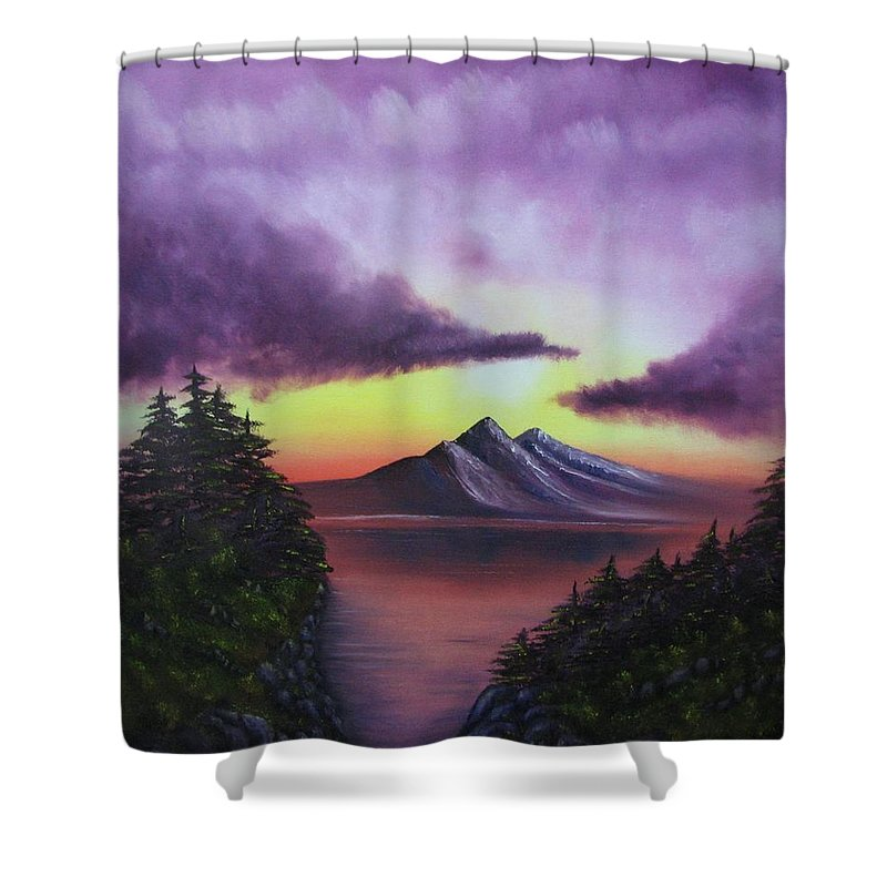 Sunset Shower Curtain featuring the painting Sunset In Mountains Original Oil Painting by Natalja Picugina