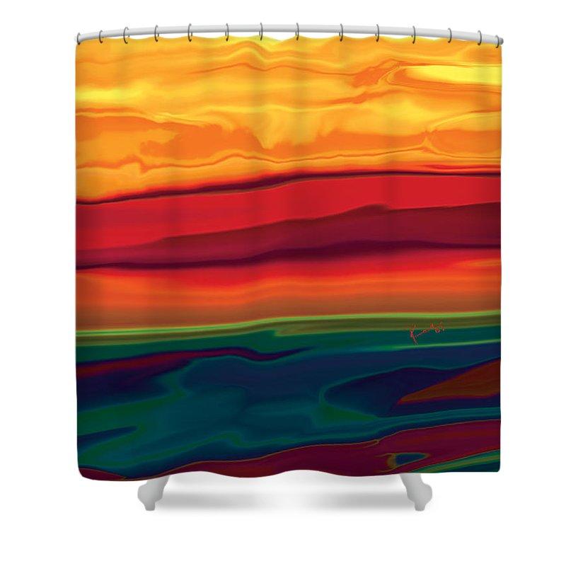 Art Shower Curtain featuring the digital art Sunset In Ottawa Valley 1 by Rabi Khan
