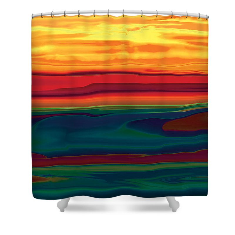 Art Shower Curtain featuring the digital art Sunset In Ottawa Valley by Rabi Khan