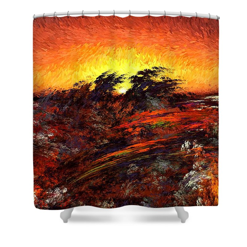 Abstract Digital Painting Shower Curtain featuring the digital art Sunset In Paradise by David Lane