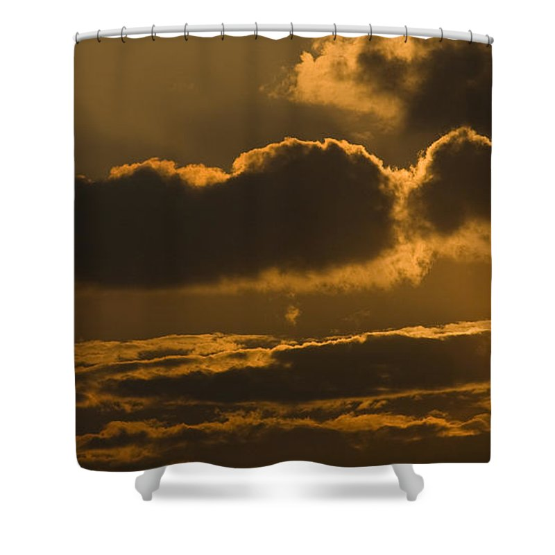 Red Shower Curtain featuring the photograph Sunset In The Heavens by Ian Middleton