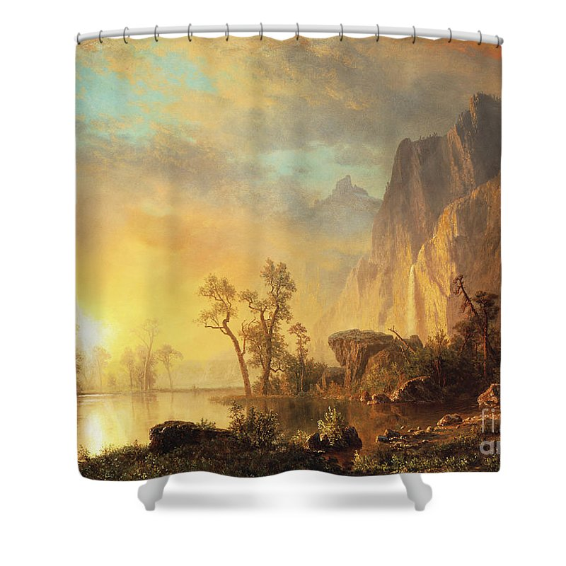 Bierstadt Shower Curtain featuring the painting Sunset In The Rockies by Albert Bierstadt