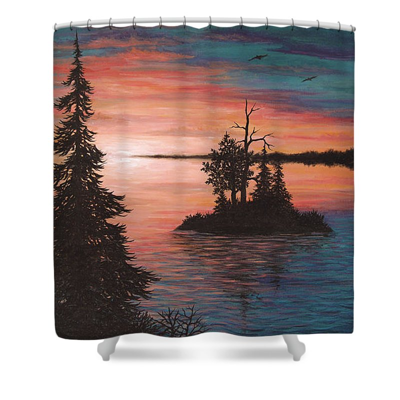 Sunset Shower Curtain featuring the painting Sunset Island by Roz Eve