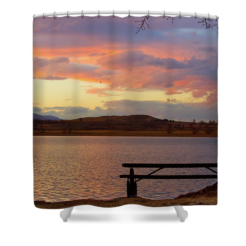 Lake Shower Curtain featuring the photograph Sunset Lake Picnic Table View by James BO Insogna