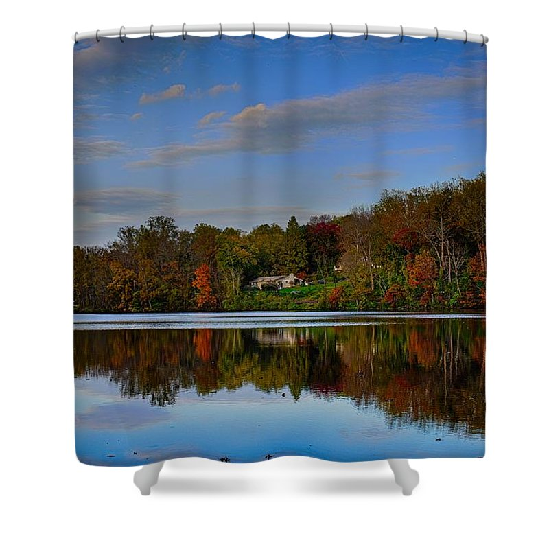 Lake Shower Curtain featuring the photograph Sunset Lake View by Doug Swanson