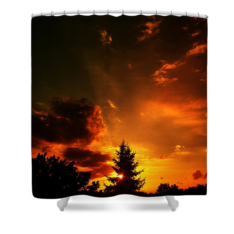 Sunset Shower Curtain featuring the photograph Sunset Madness by Flavien Gillet