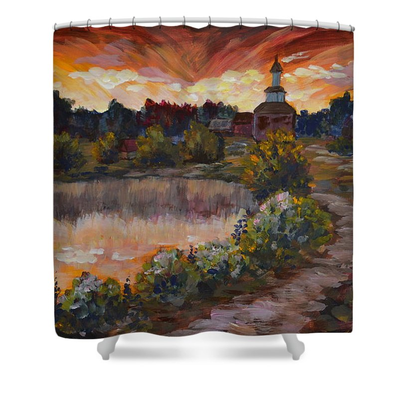 Destination Home Shower Curtain featuring the painting Sunset by Maryna Borysova