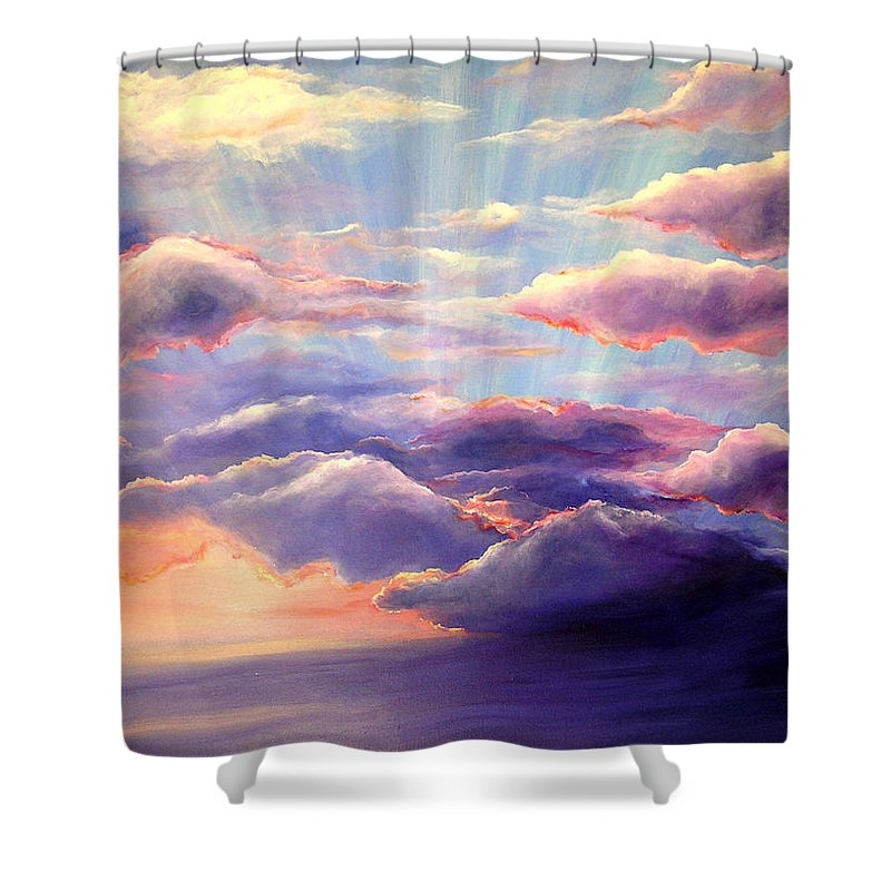 Sunset Shower Curtain featuring the painting Sunset by Melissa Joyfully