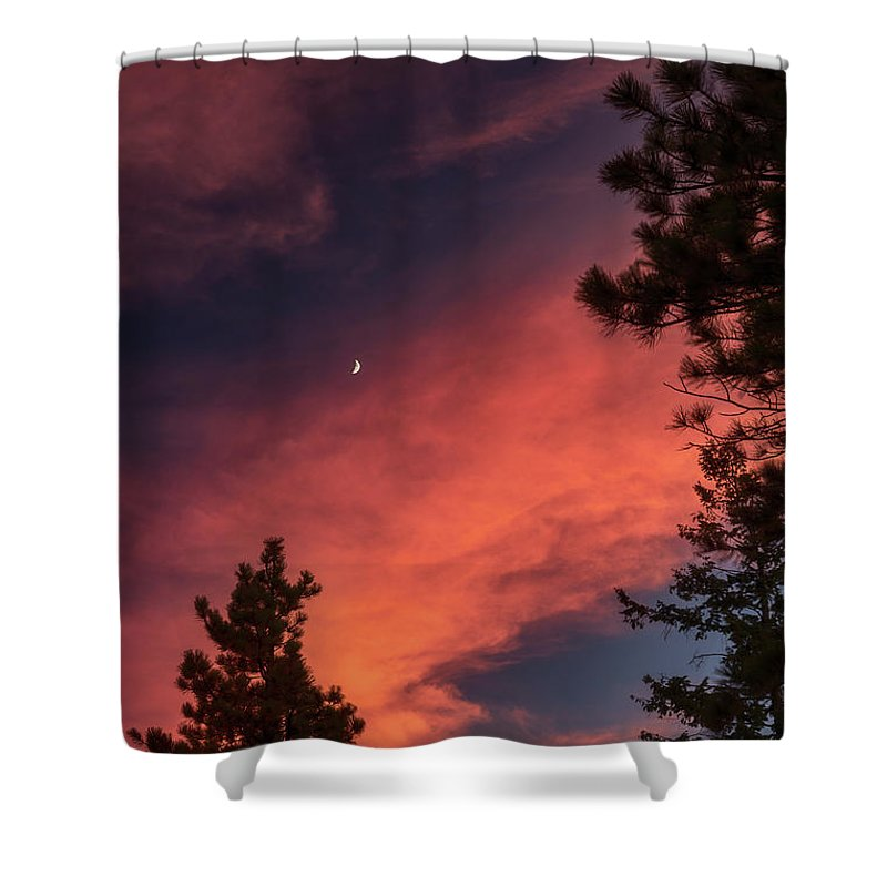 Bedroom Shower Curtain featuring the photograph Sunset - Moonrise by Jarrett Griffin