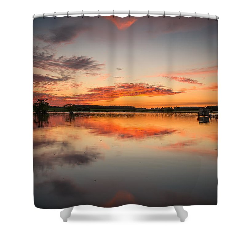 Clouds Shower Curtain featuring the photograph Sunset by Nick Rowland